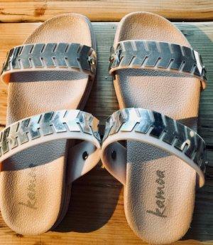 Sandales à talons hauts or rose-argenté