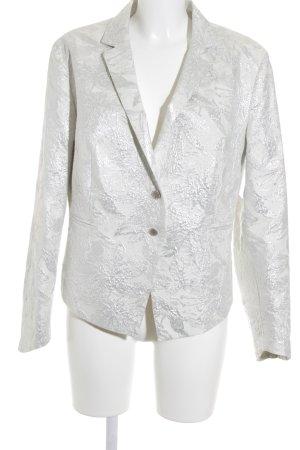 Kamuflage Kurz-Blazer silberfarben-weiß florales Muster Elegant