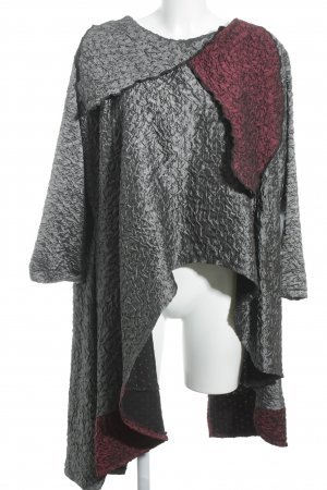 Kamuflage Poncho grau-rot abstrakter Druck Casual-Look