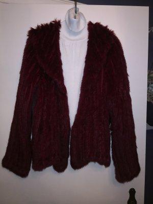 Giacca di pelliccia rosso scuro-bordeaux