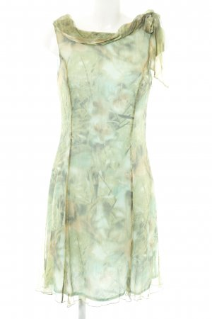 Kapalua Chiffon jurk groen-bruin bloemenprint casual uitstraling