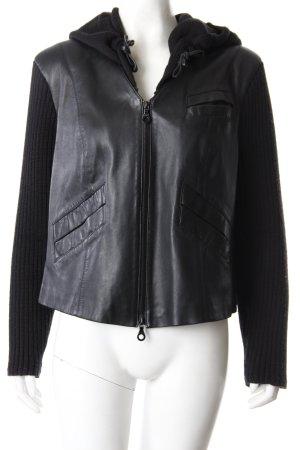 Kapalua Leder-Strick-Jacke schwarz