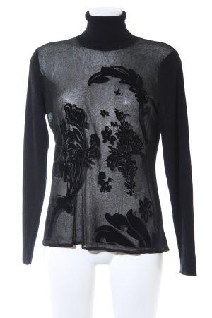 Kapalua Rollkragenpullover schwarz Ornamentenmuster Elegant
