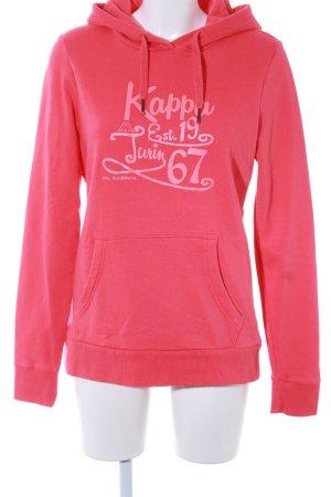 Kappa Kapuzenpullover magenta Schriftzug gedruckt sportlicher Stil