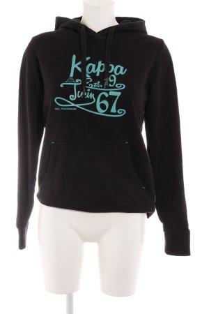 Kappa Kapuzensweatshirt schwarz-mint Motivdruck Casual-Look