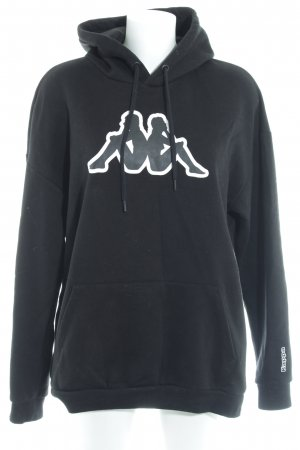 Kappa Sweatshirt schwarz-weiß Motivdruck Casual-Look
