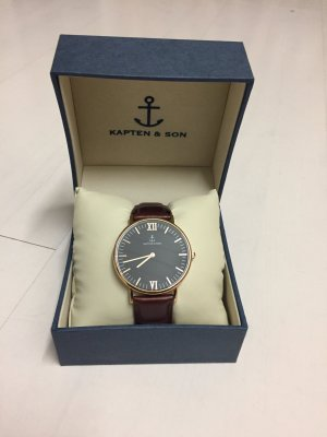 Kapten & Son Black Brown Leather Uhr