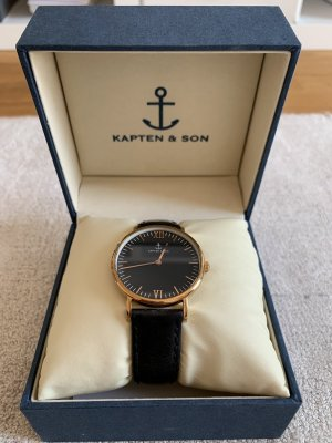 Kapten & Son Watch With Leather Strap black leather