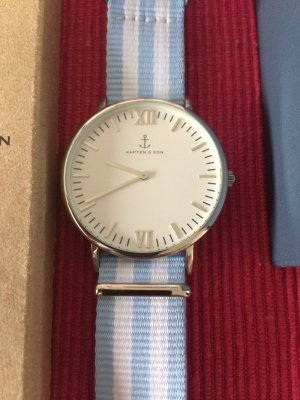 Kapten & Son Reloj con pulsera de cuero blanco-gris claro Cuero