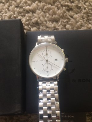 Kapten & Son Watch With Metal Strap white-light grey stainless steel