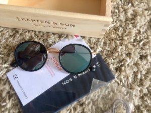 "Kapten & Son Sonnenbrille ""Amsterdam Matt Black Gold Blue"" Neuwertig"