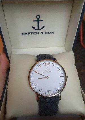 Kapten & Son Horloge met lederen riempje zilver-donkerblauw