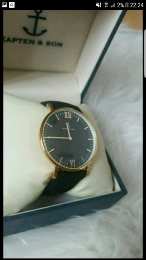 Kapten & Son Watch With Leather Strap camel-black leather