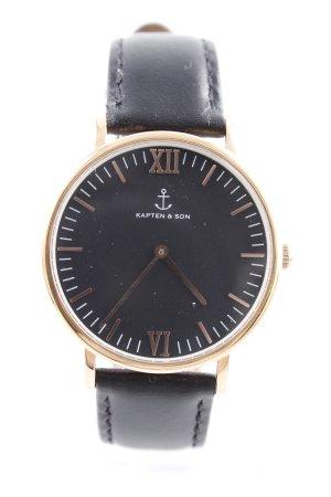 Kapten & Son Uhr mit Lederarmband schwarz-goldfarben minimalistischer Stil