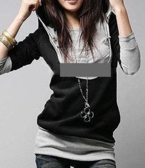 Kaputzen Sweater Grau schwarz weiter Ausschnitt Gr M/L
