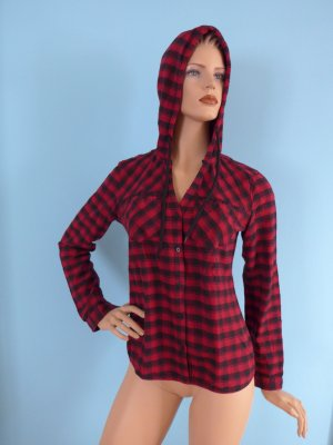FB Sister Hooded Shirt red-black cotton
