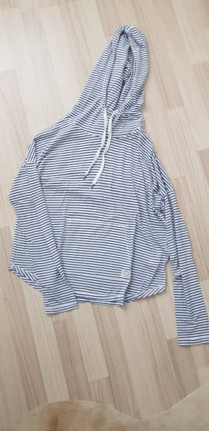 H&M Hooded Shirt white-dark blue