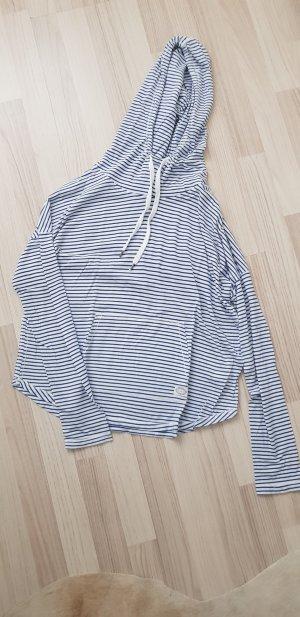 H&M Blusa con capucha blanco-azul oscuro
