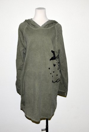 Made in Italy Robe à capuche gris vert coton