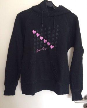 Hooded Sweater black-neon pink