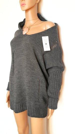 0039 Italy Jersey con capucha gris-gris oscuro Acrílico