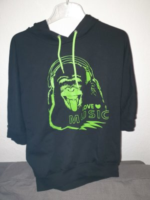 Blind Date Hooded Sweater black-neon green