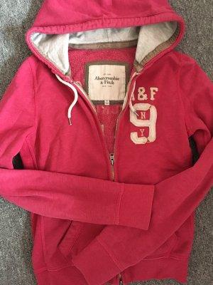 Abercrombie & Fitch Chaqueta con capucha gris claro-rosa