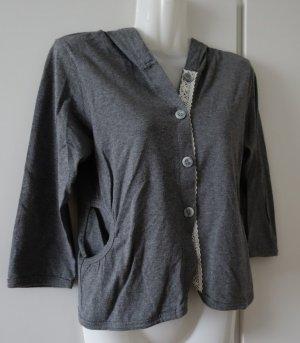 Nobrand Veste sweat gris-blanc cassé coton