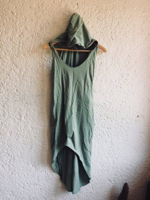 Hooded Dress sage green-pale blue cotton