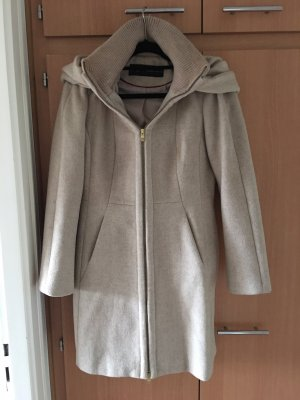 Zara Basic Hooded Coat cream-beige