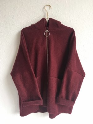 Mango Hooded Coat bordeaux
