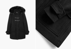 Mango Basics Manteau à capuche noir tissu mixte