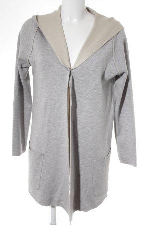 Manteau à capuche gris clair-crème style décontracté