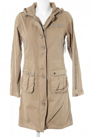 Hooded Coat sand brown printed lettering street-fashion look