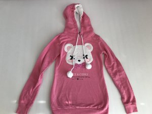 Blind Date Hooded Sweater pink-white