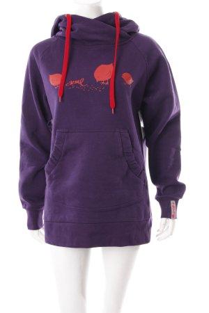 Jersey con capucha violeta oscuro-rojo ladrillo estampado temático