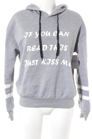 Maglione con cappuccio grigio chiaro-bianco caratteri stampati stile casual