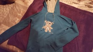 Blind Date Hooded Sweater blue cotton