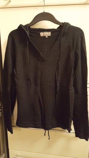 Kapuzenpullover mit V-Ausschnitt, schwarz, Gr. XL