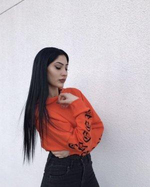 HM Blusa con capucha naranja-negro