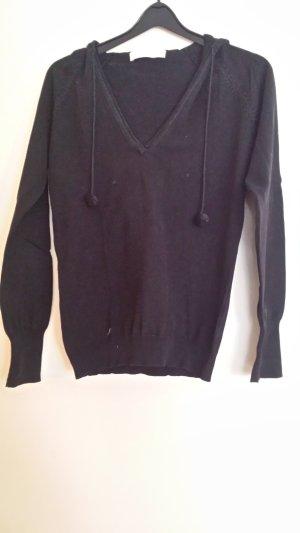 Top à capuche noir coton