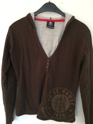 Camicia con cappuccio marrone-grigio