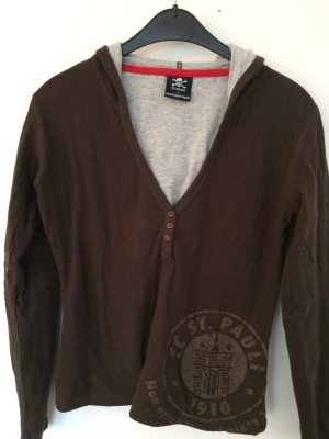 Blusa con capucha marrón-gris