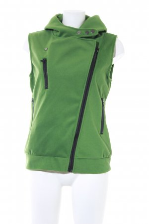Hooded Vest grass green-black casual look