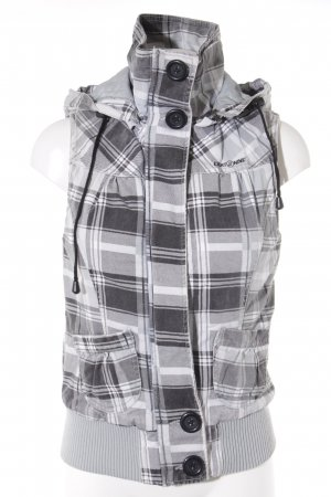 Hooded Vest grey-white check pattern casual look