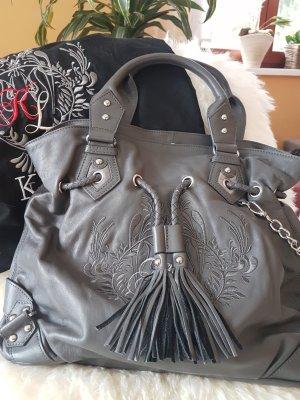 KAREN LY - Designertasche in grau mit Bestickung