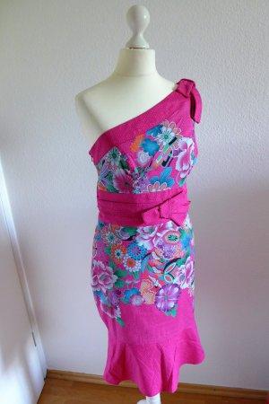 Karen Millen Abend Kleid Asia Pink One Shoulder Blumen Blüten Gr. 36 (10) neu