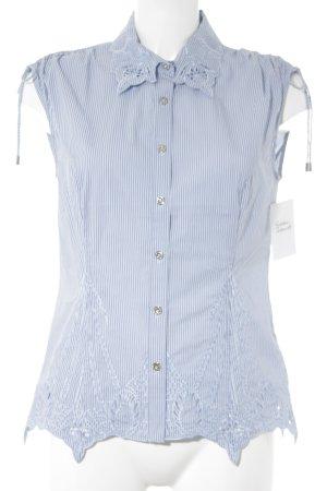 KAREN MILLEN ärmellose Bluse himmelblau-weiß Streifenmuster Casual-Look