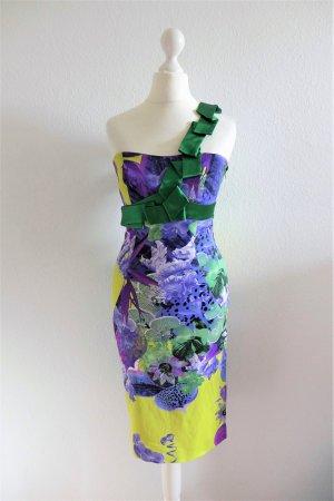Karen Millen Bandeau Bleistift Kleid Satin gelb grün lila Blumen Gr. 34 36 XS S