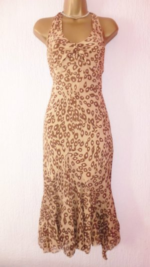 Karen Millen Beige Animal Print Seide Asymmetric Halterneck Summer Dress Size 12